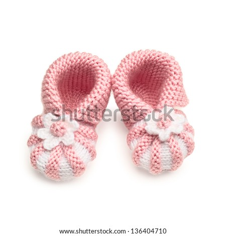 Pair of Handmade baby Shoes, Isolated on White - stock photo