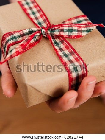 Pair of Hands Holding Present - stock photo