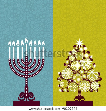 Pair of Happy Holidays! cards with Christmas tree and Channuka candles - stock photo