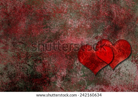 Pair of hearts on a rough grunge texture - stock photo