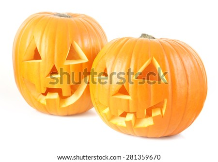 Pair of Jack o lanterns - stock photo