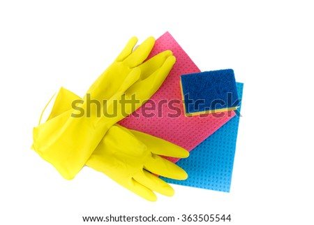 Pair of Kitchen Gloves and Cleaning Rags Isolated on White