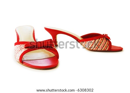 Pair of lady's red summer shoes