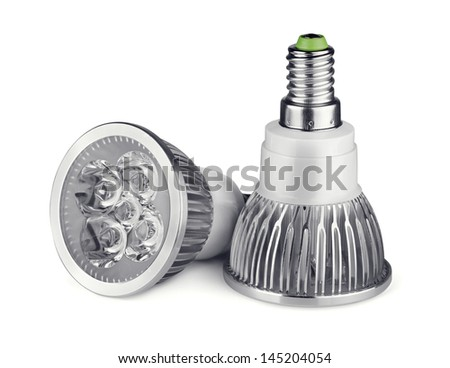 Pair of LED light bulbs isolated on white - stock photo