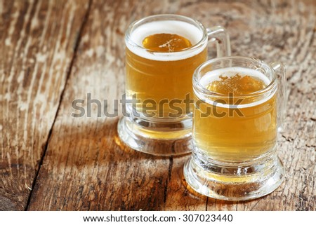 pair of light beer, selective focus - stock photo