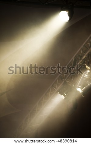 Pair of Lights on Lighting Rig - stock photo