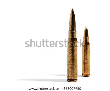 Pair of long and medium rifle bullets for hunting standing on white background with long shadow