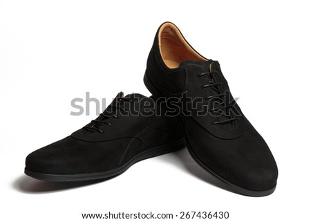 Pair of male classic black suede shoes isolated on the white background - stock photo