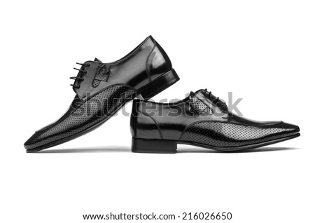 Pair of male shoes isolated on the white - stock photo