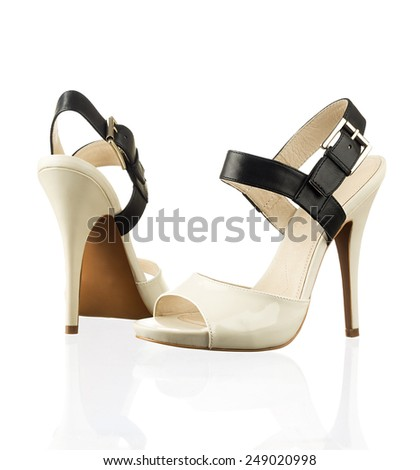 Pair of modern fashionable women shoes shot in studio - stock photo
