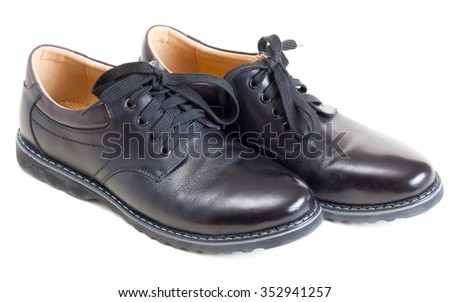 pair of modern men's leather black shoes