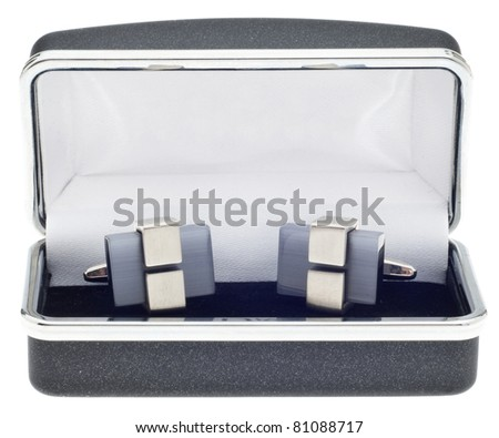 Pair of Modern Metal and Stone Cufflinks - stock photo