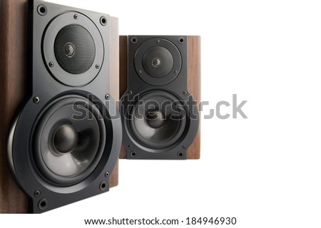 Pair of modern music speakers in classic wooden casing isolated on white background