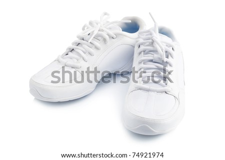 Pair of new sneaker on white background