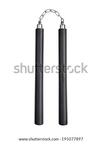 Pair of nunchuks isolated on white background with clipping path