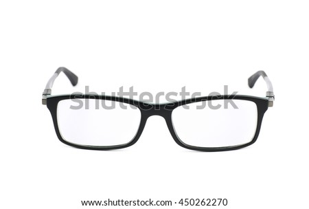 Pair of optical glasses isolated over the white background