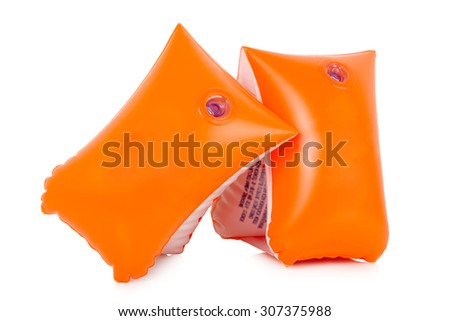 pair of orange armbands isolated on white