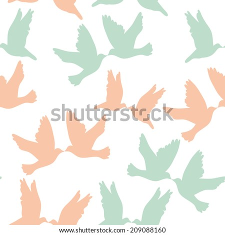 Pair of pigeons on a white background. Seamless pattren pastel color.