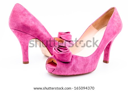 Pair of pink  dress women shoes isolated over white