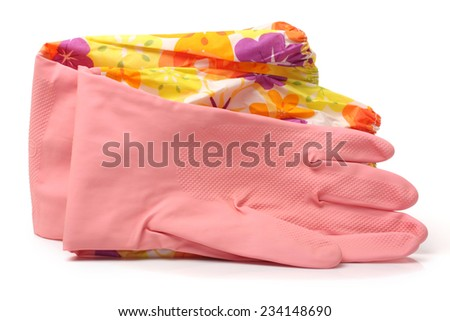 Pair of pink rubber gloves isolated on white  - stock photo