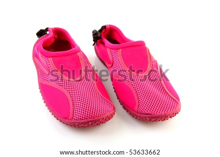 Pair of pink water shoes isolated on white background