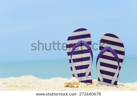 Pair of purple striped sandal and seashell on the beach - stock photo