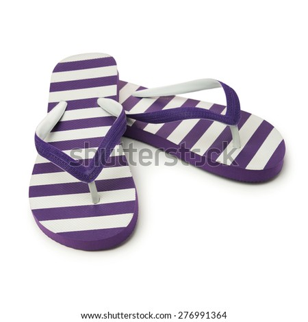 Pair of purple striped sandal on white background - stock photo