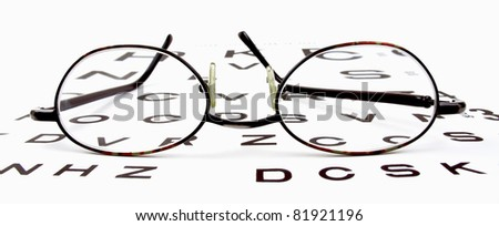 Pair of reading glasses on an eye chart with white background - stock photo