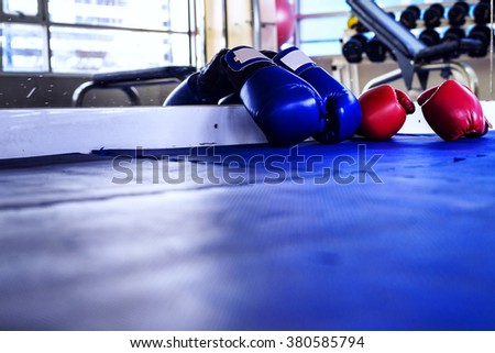 Pair of Red and Blue boxing gloves hanging on a Blue wall in fitness center - stock photo