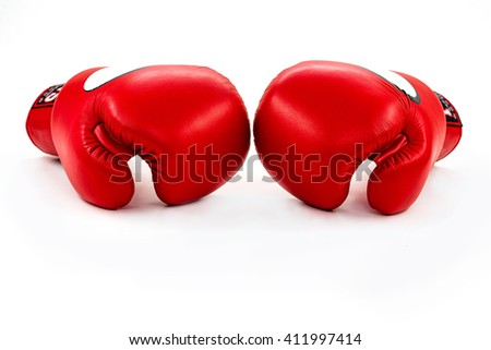Pair of red boxing gloves isolated on white background - stock photo