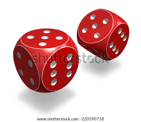 Pair of red dice isolated on white background. 3D - stock photo