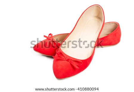Pair of red female shoes isolated on a white background - stock photo