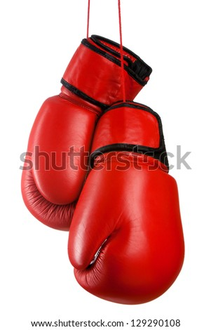 Pair of red leather boxing gloves - stock photo