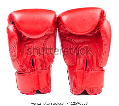 Pair of red leather boxing gloves isolated on white background - stock photo