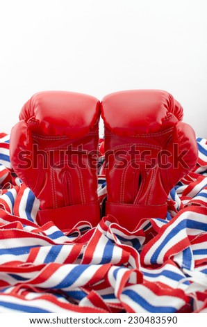 Pair of Red Leather Boxing Gloves Sport, Guard isolated on white background. - stock photo