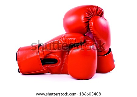 Pair of Red Leather Boxing Gloves Sport isolated on white background.