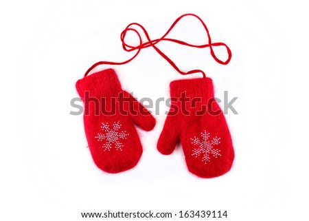 pair of red mittens. Isolate on white.  - stock photo