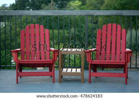 Pair Of Red Patio Chairs