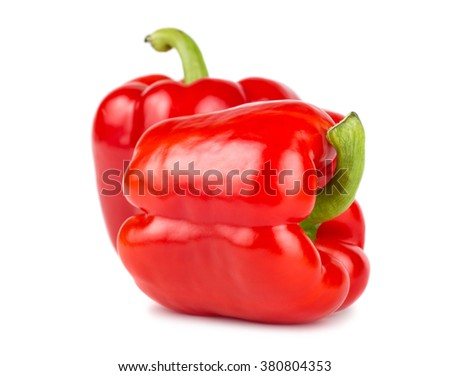 Pair of red sweet peppers isolated on white background
