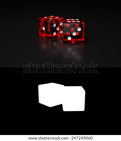 Pair of Red transparent Dices laying on reflective black surface - stock photo