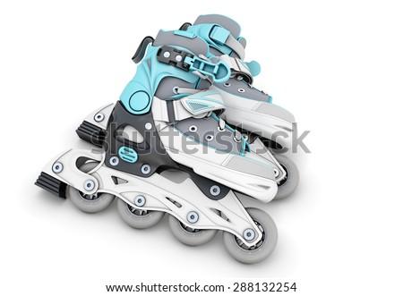 Pair of roller skates isolated on white background. 3d illustration. - stock photo