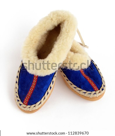 Pair of Serbian vintage traditional shoes, Srbija - stock photo