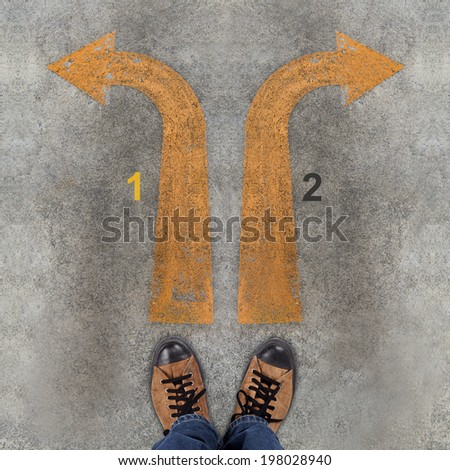 Pair of shoes and two arrows with 1, 2 - stock photo