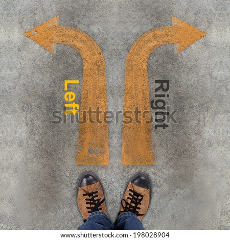 Pair of shoes and two arrows with Left, Right - stock photo