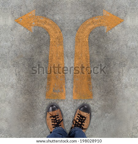 Pair of shoes and two arrows with Solution and Problem  - stock photo