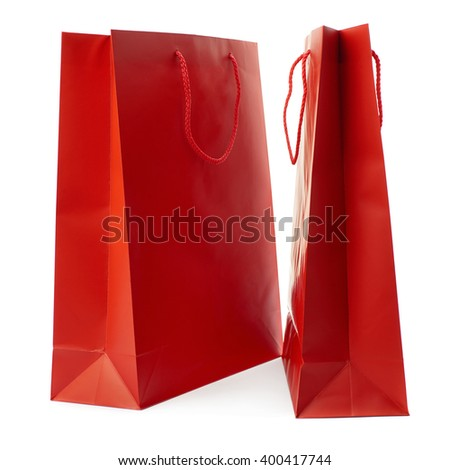 Pair of Shopping bag isolated over the white background - stock photo