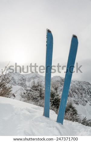 Pair of skis in snow covered ridge. Winter landscape in the background. - stock photo