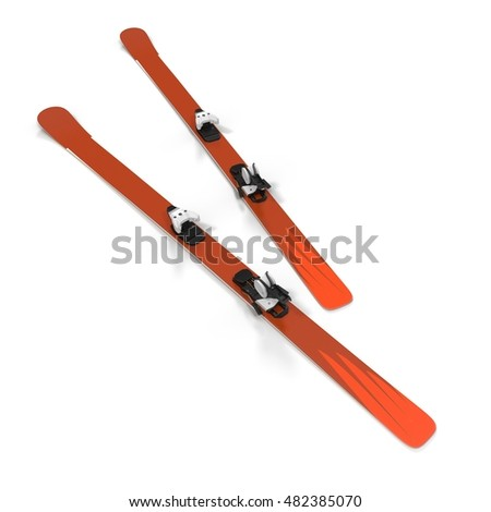 Pair of skis isolated on white 3D Illustration