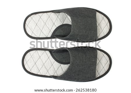 Pair of slippers top view isolated on the white background - stock photo
