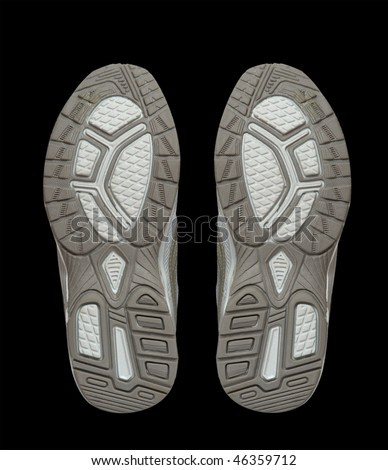 Pair of sneakers isolated on black background - stock photo